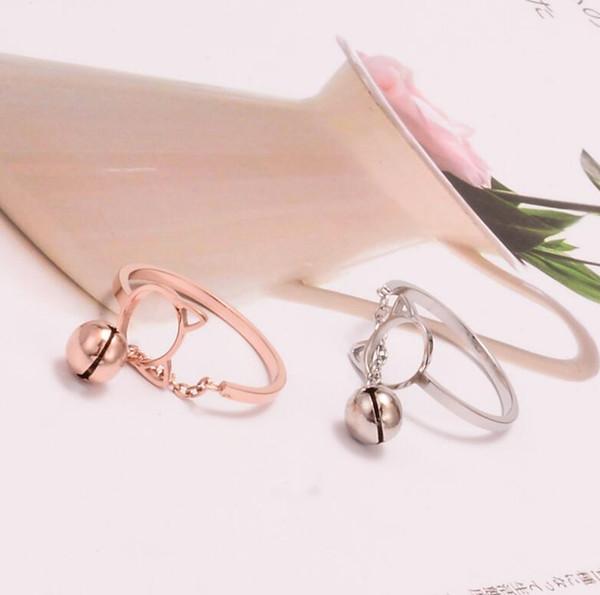 Anillo abierto de gato lindo de acero inoxidable 316 Anillo expansible de campana pequeña Tamaño flexible Anillo de oro rosa para mujer Anillo pulido alto