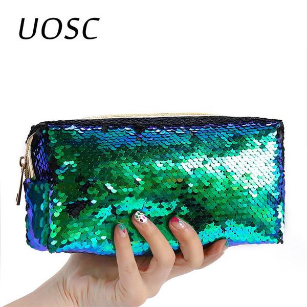 Uosc Sequins Glitter Cosméticos sacos Cor dobro Sequins Handbag composição cosmética do saco Bolsa Mulheres partido da sereia Clutch Bags