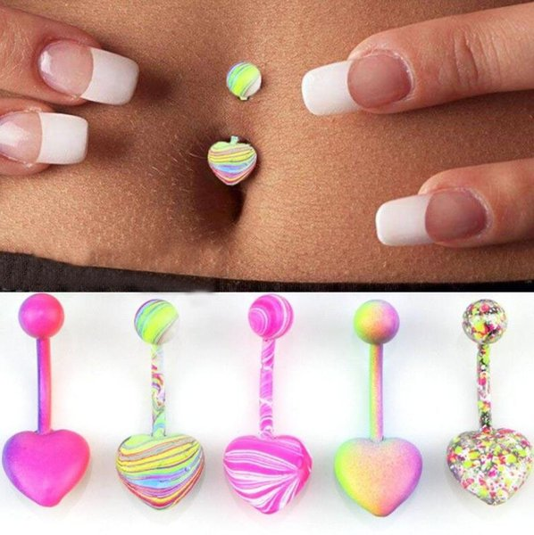 Punk Stainless Steel Barbell Coating Belly Button Rings Body Piercing Jewelry Mixed Color S/M