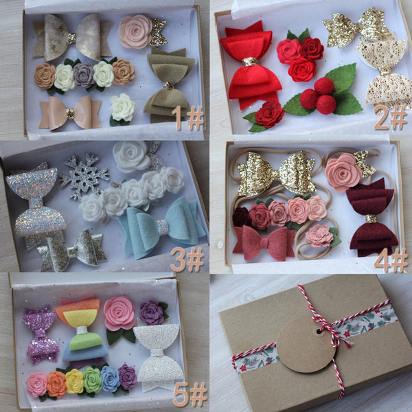 New One Set 6 Pcs Baby Hair Accessories Girls Bow-Knot Headband Flower Elastic Hairband With Gift Box For Present Beautiful