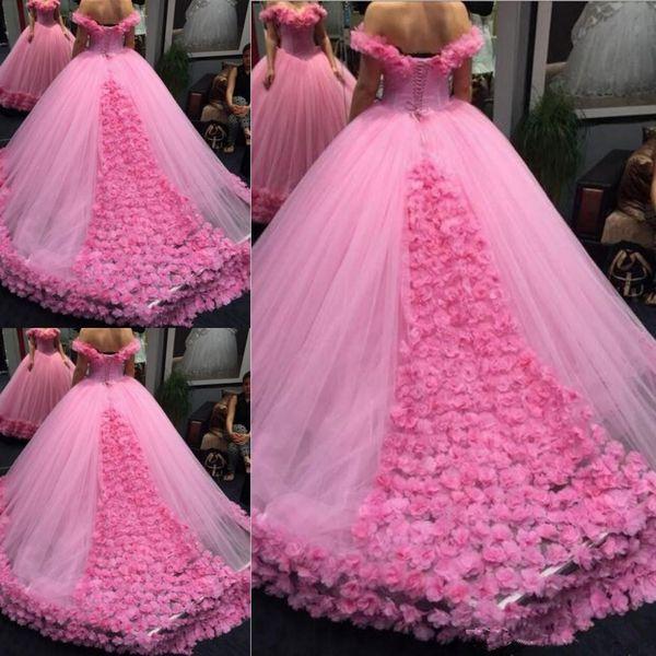 Abendkleid 2020 Luxurious 3D Blumenballkleid off-Schulter Kathedrale Zug Promkleider Sweety 15 Mädchen Maskerade Kleider