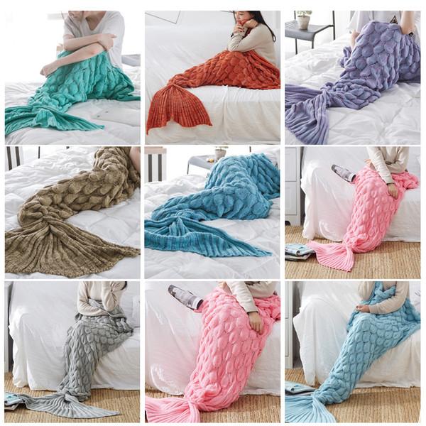 Manta de cola de sirena de punto hecha a mano adulto / niño / bebé sofá cama cama toda la temporada dormir siesta cumpleaños regalo de Navidad B004 # 3