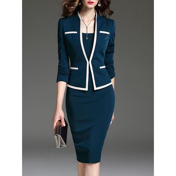 Vestido de traje de mujer Oficina de trabajo para damas con chaqueta Blazer Set 2018 Moda femenina Ropa de marca Ropa de marca Plus Size 5XL 6XL