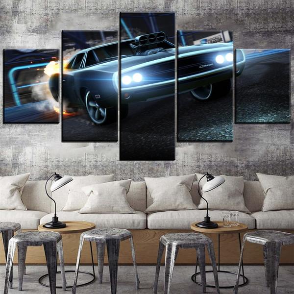 Dodge Charger Rocket League Auto, 5 Stücke Leinwand Wandkunst Ölgemälde Wohnkultur (Ungerahmt / gerahmt)