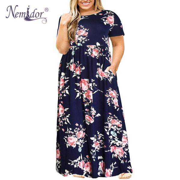 Nemidor 2019 Hot Sales Women O-neck Long Sleeve Long Summer Casual Dress Plus Size 7xl 8xl 9xl Vintage Maxi Dress With Pockets T190710