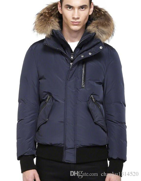Men's Down jacket WINTER MAC-HAR-F4-A203 Down & Parkas Brand Real Raccoon Fur Collar White Duck Outerwear & Coats WITH FUR HOOD