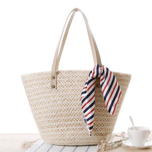Scarves Design Summer Shell Beach Bag Large Capacity Tote Straw Bags Women Top-handle Handbags Ladies Casual Shoulder Bags Bolsa