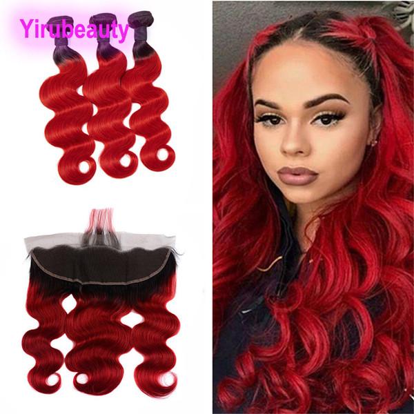 Paquets péruviens de cheveux humains 3 avec la vague frontale 1B de corps de dentelle 13X4 / rouge vierges prolongements de cheveux 1B trames rouges de cheveux d'ombre avec le front