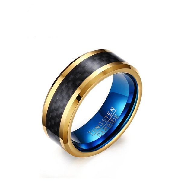 8MM Gold Blue Color Fashion Simple Men's Carbon Fiber Rings Tungsten Carbide Ring Jewelry Gift for Men Boys J048