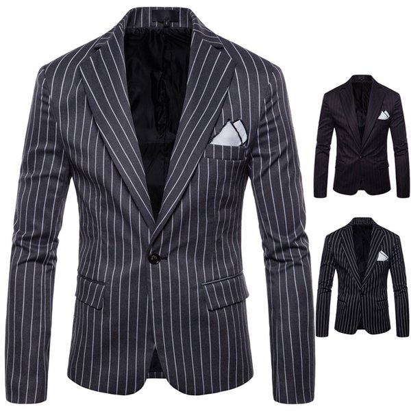Classic Striped Blazers for Men 3 Colors Plus Size Male Business Suits Slim Fit Single Button Party Wear