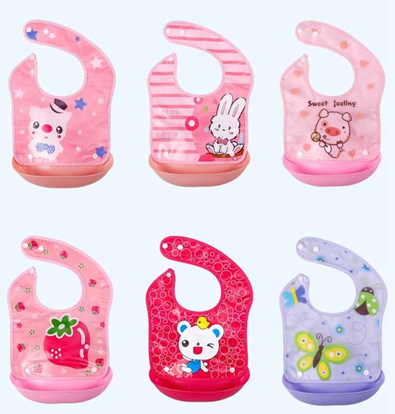 Bebek Önlükler Karikatür Hayvan Geğirmek Bezler Ayrılabilir Bebek Besleme Önlükler ile Geniş Cep 16 Tasarımlar Opsiyonel DW4215