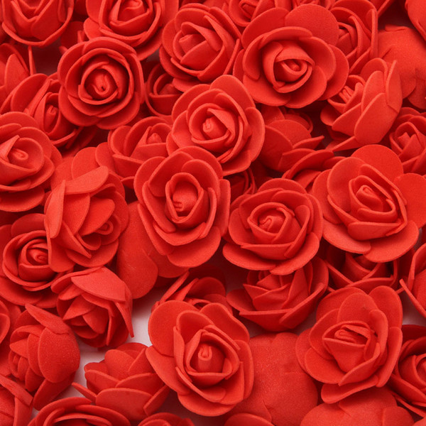 best selling 2cm Decorative Teddy Bear Rose PE Foam Artificial Flower Bouquet For Home Wedding Decoration DIY Wreath Fake Flower 500pcs  bag