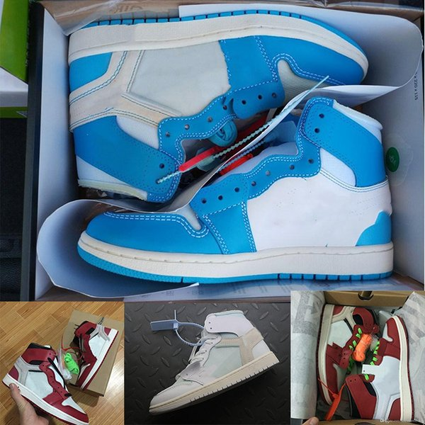 top popular Hot 1OG Basketball Shoes Mens Chicago red 1S Sneakers off Blue white trainers luxury Sport Shoes women designer shoes UNC Powder Size 36-47. 2019