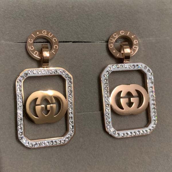 top popular Girl High Quality Fashion wedding 316L titanium steel rose gold full diamond square letter drop earrings dangle for Women lady birthday gift 2020