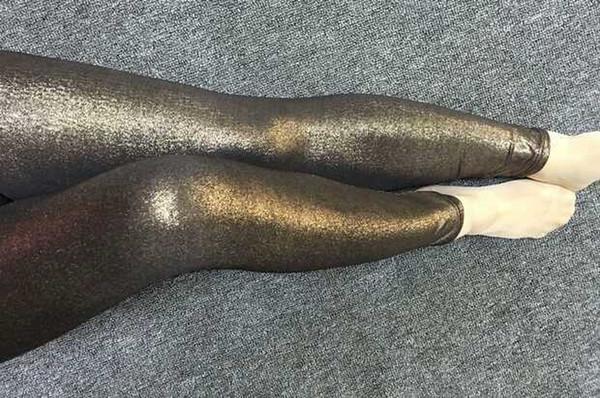 Pantaloni skinny in oro scuro bronzo Royal blue Purple Shiny Glitter lucido Leggings metallici elasticizzati Leggings da discoteca PU in pelle sintetica effetto bagnato