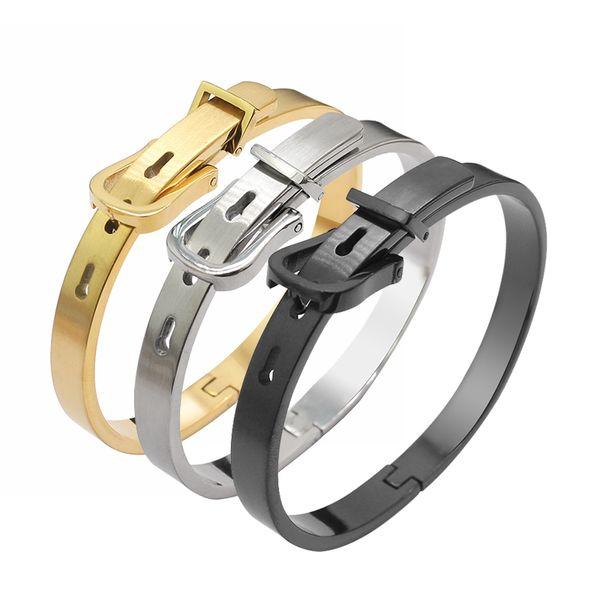 High Quality 316L Titanium Steel Belt Buckle Bracelet for Men Women 5mm 7mm 9mm Rose Gold Black Gold Bracelet Fashion Personalised Jewelry
