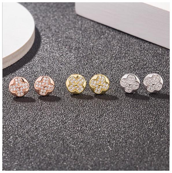 Новый роскошный Real 925 Silver Clover серьги дизайнер серебро серьги Мода Женщины полный кристалл серьги ювелирные изделия