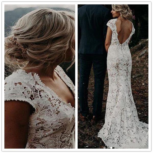 Elegant Lace Mermaid Wedding Dresses Cap Sleeve Backless Custom Bridal Party Gown Women Boho Wedding Gowns