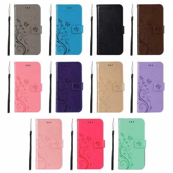 Emboss Butterfly Flower Pattern Phone Shell Cover Clamshell Card Holder Phone Cases for iPhone 7 8PLUS XR X MAX