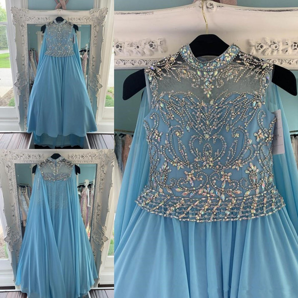 Blue Chiffon Pageant Evening Dresses With Cape 2020 High Beaded Collar Plus Size Floor Long Plus Size Formal Prom Party Gowns