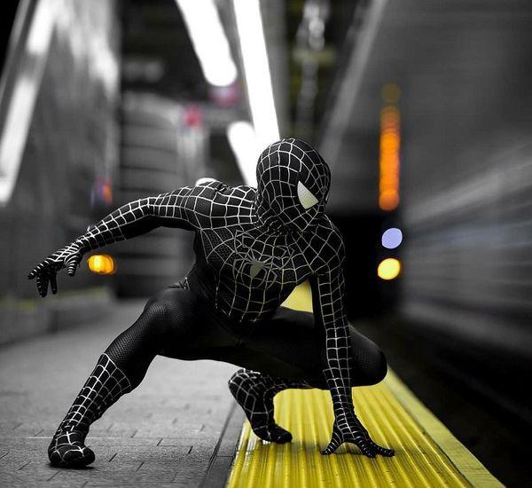 Collants Spiderman Muscle Black Service pour hommes Beau collant siamois Black Venom Spider Spiderman costume de cosplay
