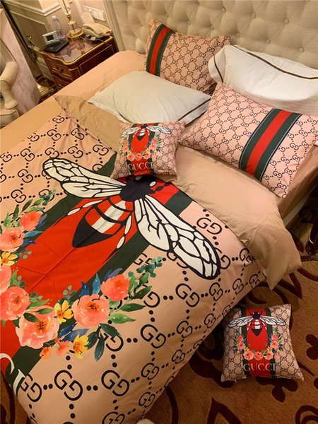 Bee Print Branded Cotton Bedding Set Fashion 5 Pcs Sheet Duvet Cover With 2 Pillowcases Home Textiles Comforter Bedclothes