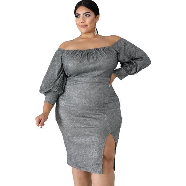 Femmes midi, plus des robes de taille en vrac rayé de 2XL-6XL automne hiver vêtements casual épaule maigre élégant fendue manches longues 2540