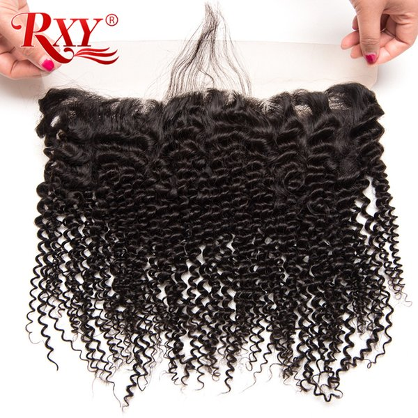 150% Density 4x13 Lace Frontal Closure Afro Kinky Curly Kinky Straight Brazilian Virgin Human Hair Lace Frontal Closure With Baby Hair