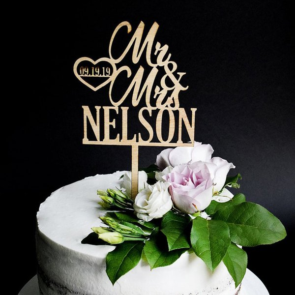 Rustic Wedding Cake Topper Custom Mr & Mrs Last Name And Date Cake Topper For Wedding Anniversary Party Unique Decor