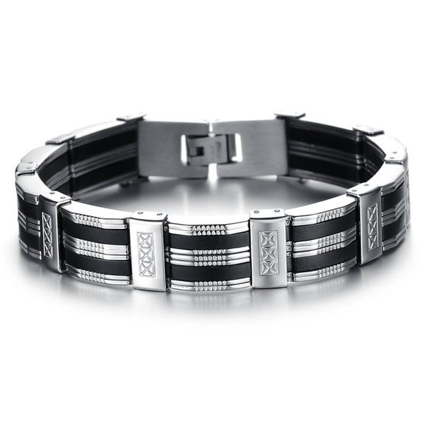 High Quality Stainless Steel Silicone Party Bracelets Bangles For Men Punk Rock Fashion Jewelry Classic Friendship Gift Korea Trendy O850