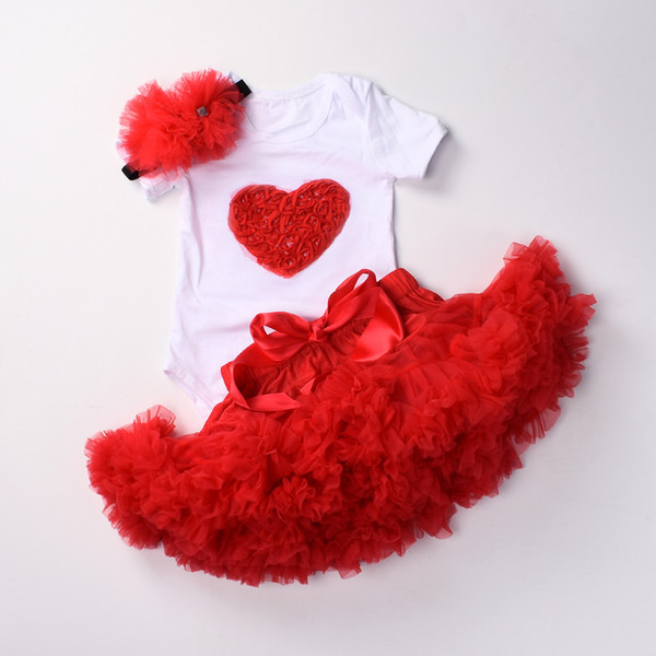 Baby Girls 1st Birthday Clothes Set 3 Pcs Infant First Birthday Outfits Bodysuit Top Tutu Pettiskirt Sets With Headband Y19061303