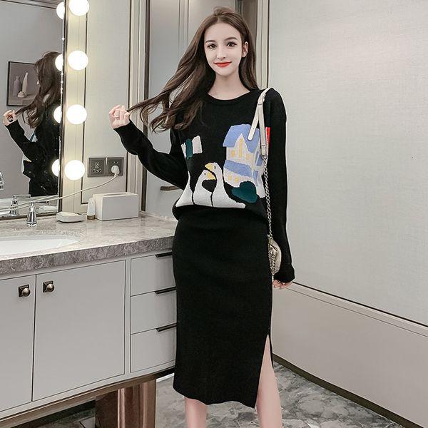 New 2019 Outono malha Define Mulher manga comprida desenhos animados solta camisola + lápis saias terno do escritório Casual Senhora Midi Dois pedaços Set