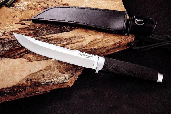 Перевозка груза падения OEM Cold Steel Открытый Человек Выживания Прямой Нож VG1 San Mai Стали Точка Падения Атласные Лезвия Ножей С Кожаной Ножной