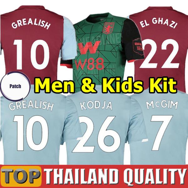 19 20 Aston Villa camisetas de futebol 2019 2020 WESLEY GREALISH KODJA EL GHAZI conjunto de camisa de futebol CHESTER McGinn TARGETT Homens Kit infantil uniformes