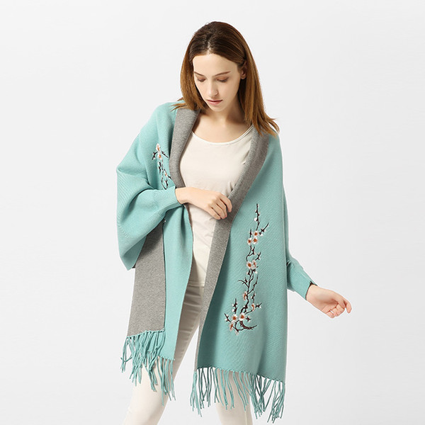 Winter Tassel Knitted Imitation Cashmere Scarf Bat Sleeves Women Long Thick Poncho Capes Duplex Women Shawl Scarfs for Ladies
