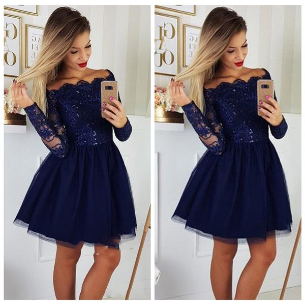 Royal Blue Homecoming Cocktail Dress 2019 Off Shoulder Illusion Long Sleeve Applique Lace Tulle Knee Length Short Party Prom Evening Dresses