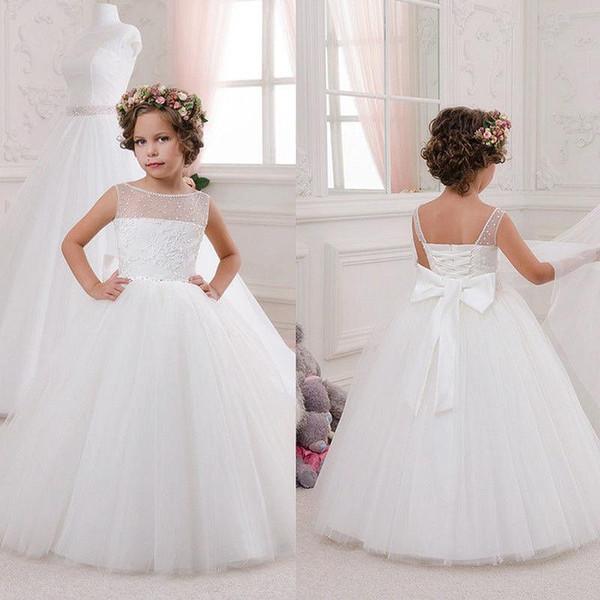 Bianco / Avorio Abbigliamento per bambini Little Baby Comunione Party Prom Princess Pageant damigella cerimonia formale occasione fiore Flower Girl Dress