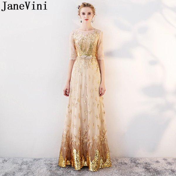 wholesale Shinning Gold Sequins Long Bridesmaids Dresses With Half Sleeves 2019 Ladies Godmother Wedding Party Dress