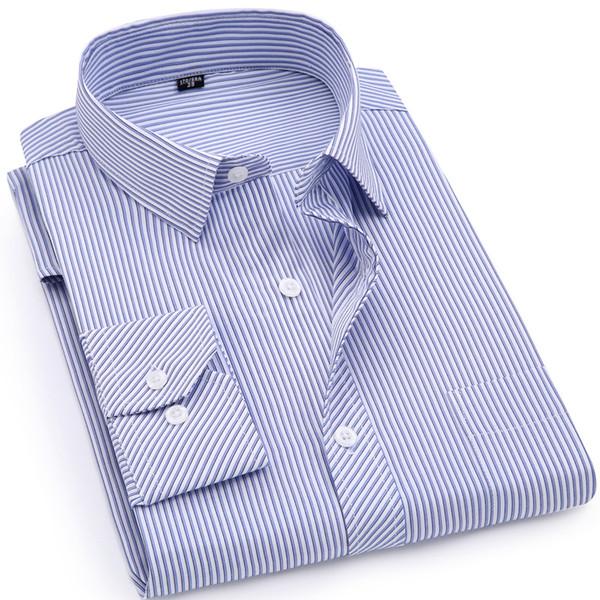 Camicia a maniche lunghe casual da uomo, abito sociale a righe classico