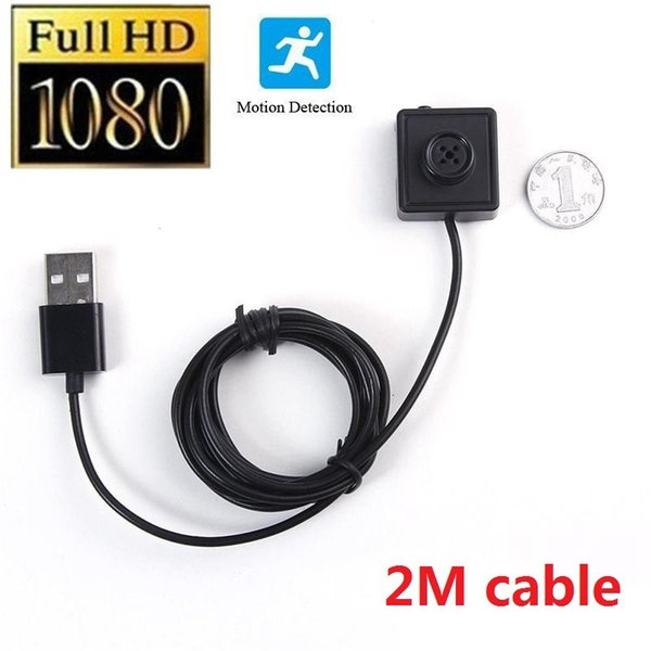 2M Cable button camera Full HD 1080P button mini camera 7/24 Hour Loop Recording Motion Activated Video Recorder support TF card