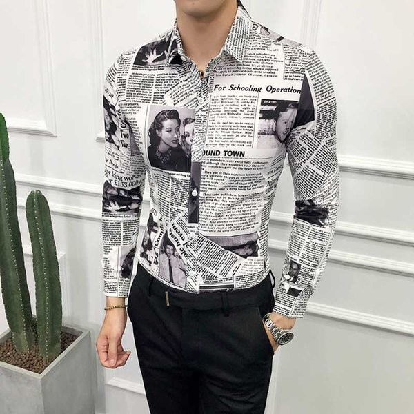 2020 Designer Pattern Shirt Newspaper Shirt Camisa Social Masculina Stylish For Men Party Club Unique Slim Fit 5xl wholesale