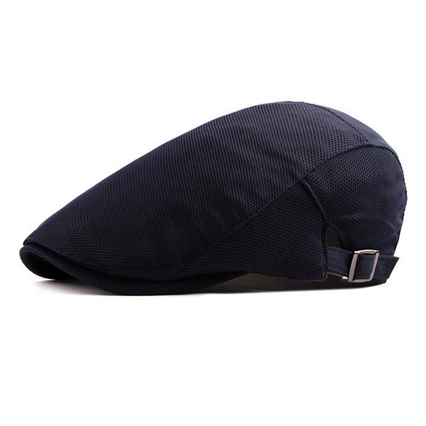 2019 Summer Solid Color Mesh Newsboy Caps Men Acrylic Flat Peaked Cap Women Painter Beret Hats 06