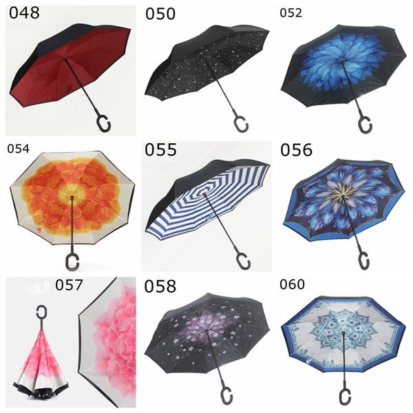 À Prova de Vento Invertido Guarda-chuva Dobrável Dupla Camada Guarda-chuva Dentro Para Fora Da Chuva Ensolarado Proteção C-Gancho Mãos Guarda-chuvas 63 Cores YM001