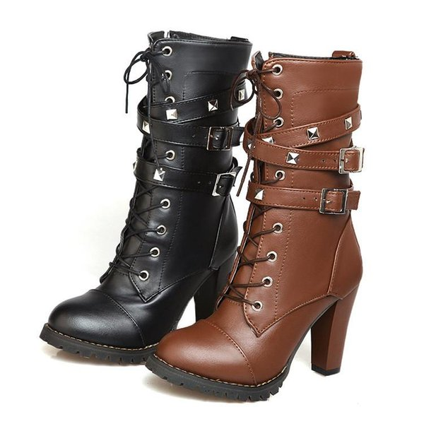 High Heeled Martin Boots 2019 Lace-up Fashion Half Boot Booties Leather Pu Boots with Patches Wedge CPA673