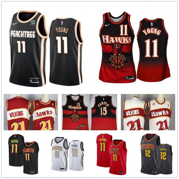 top popular Atlanta Trae 11 Young Jersey Hawks Vince 15 Carter 12 De'Andre Hunter Dominique 21 Wilkins 55 Dikembe Mutombo Basketball Jerseys Fri 2019