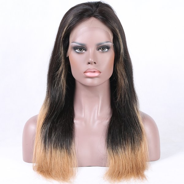 Venta al por mayor de pelo brasileño ombre 1b / rubia peluca llena de encaje de cabello humano recto liso natural rayita