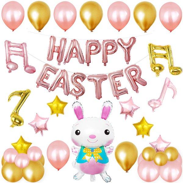 12inch Ostern Party Set Dekorative Sets Cartoon Kaninchen Bunny Form Aluminium film Ballon Dekor Kits DHL Freies Verschiffen