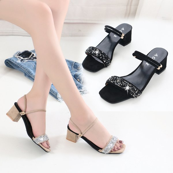 Lucky2019 Fish Coarse Mouth High With Slipper Paillette Toe One Word Two Clothes Women's Sandals