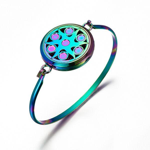 Color Perfume Difusor de aceite Medallón Retro exquisita pulsera de moda caja magnética de acero inoxidable Enviar lentejuelas como regalo SF-13