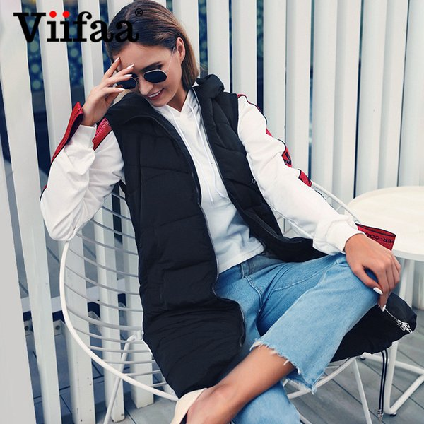 Viifaa Winter Women Sleeveless Long Down Vest Jacket 2019 Casual Hooded Solid Warm Outwear Vest Coat